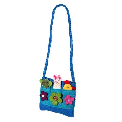 Felt children's handbag Animals Cyan