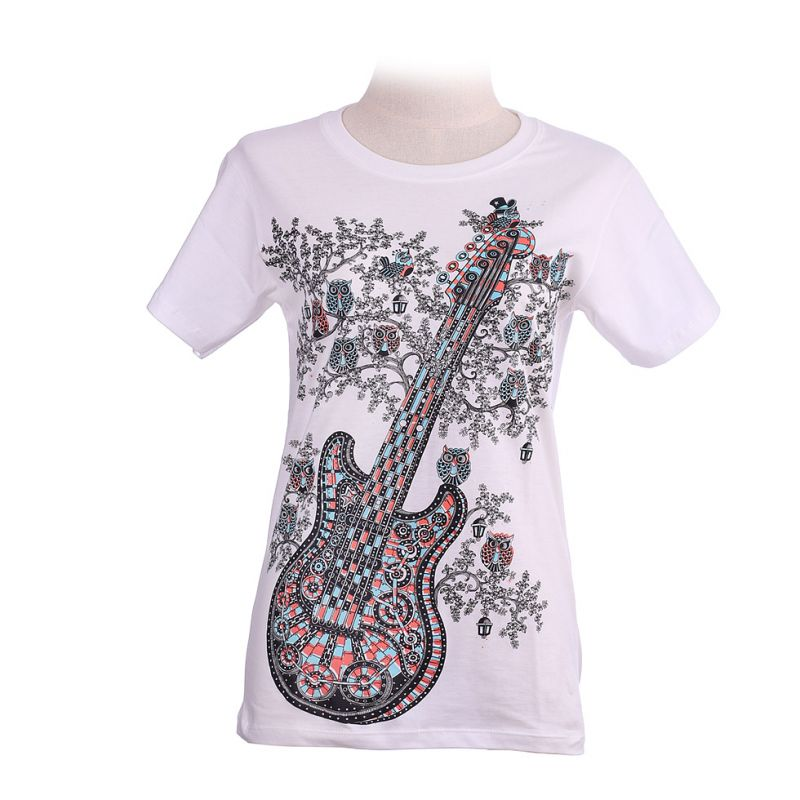 Women's t-shirt Guitar White