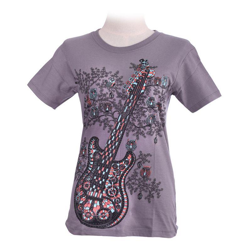 Women's t-shirt Guitar Grey