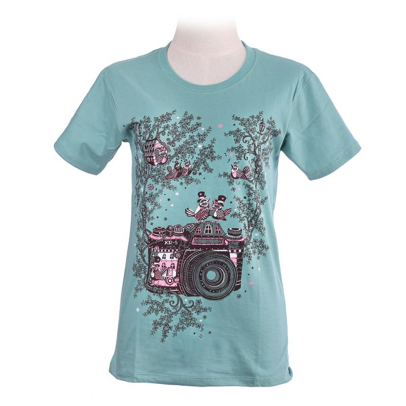 Women's t-shirt Bird Camera Green