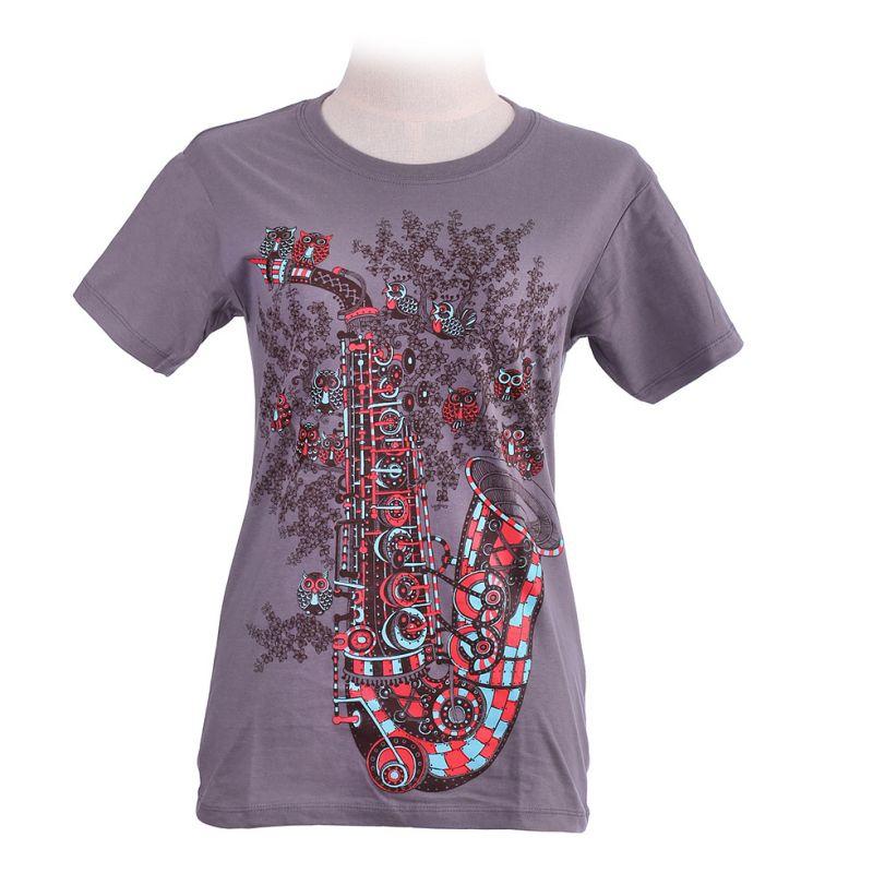 Women's t-shirt Saxophone Grey