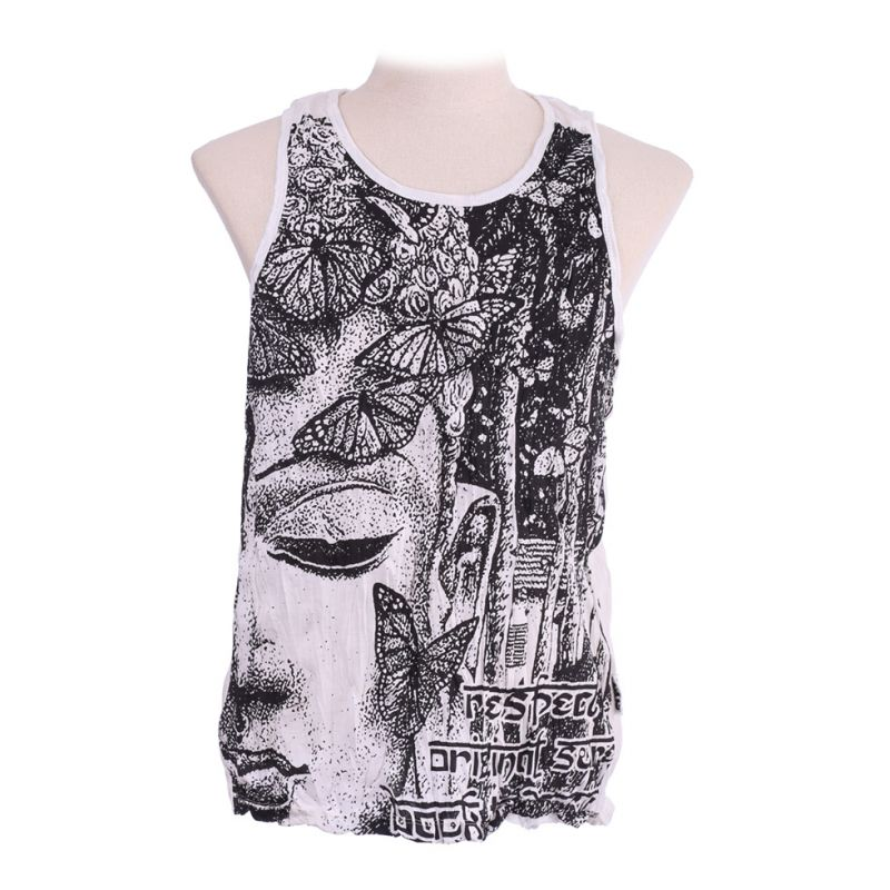Men's tank top Sure Buddha's Butterflies White