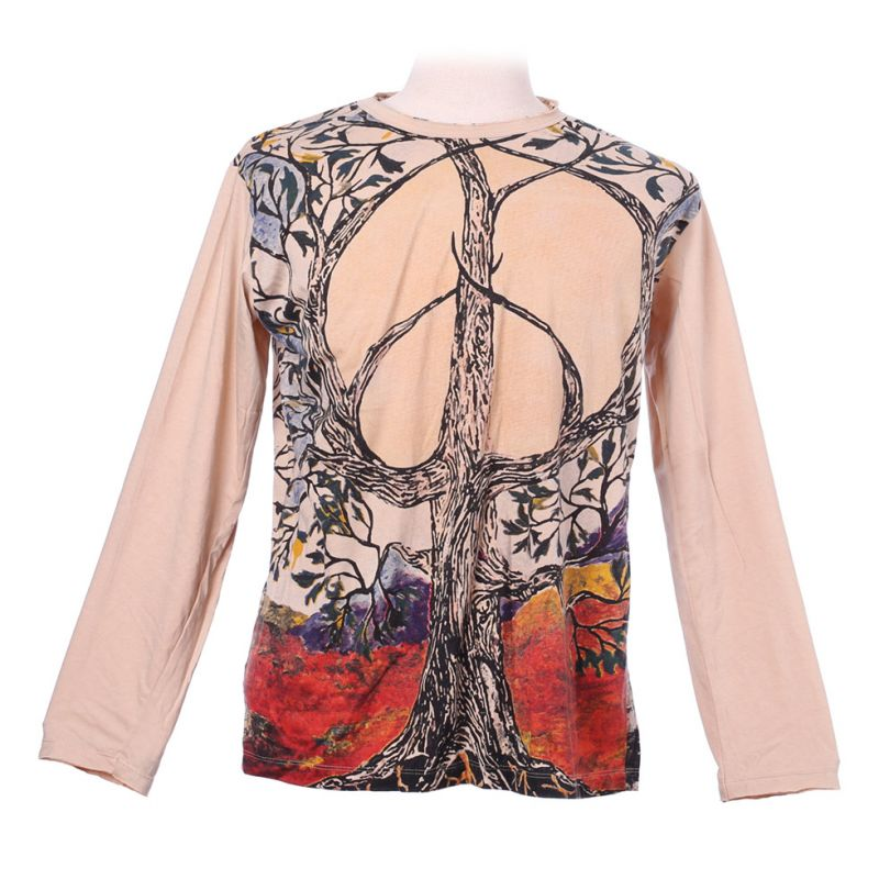 Mirror T-shirt with long sleeves - Tree of Peace Beige