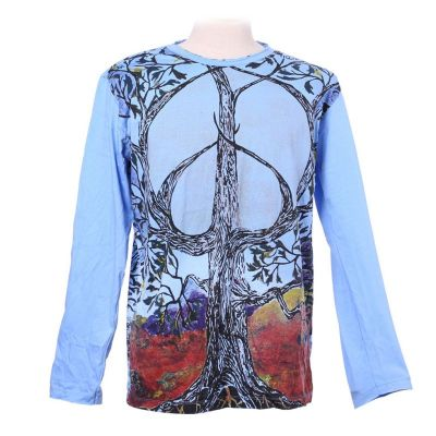 T-shirt Tree of Peace Blue - long sleeves