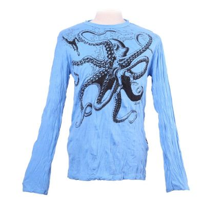 Men's t-shirt Sure with long sleeves - Octopus Attack Turquoise