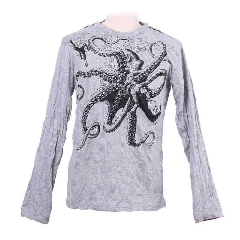 Men's t-shirt Sure with long sleeves - Octopus Attack Grey