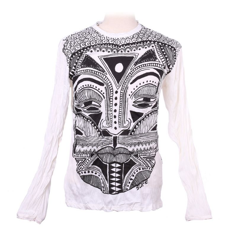Men's t-shirt Sure with long sleeves - Khon Mask White
