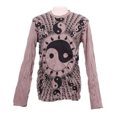 Men's t-shirt Sure with long sleeves - Yin&Yang Brown