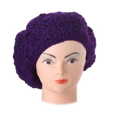 Crocheted beret Laras Purple