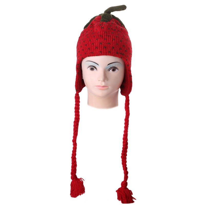 Woolen hat Strawberry with pompons