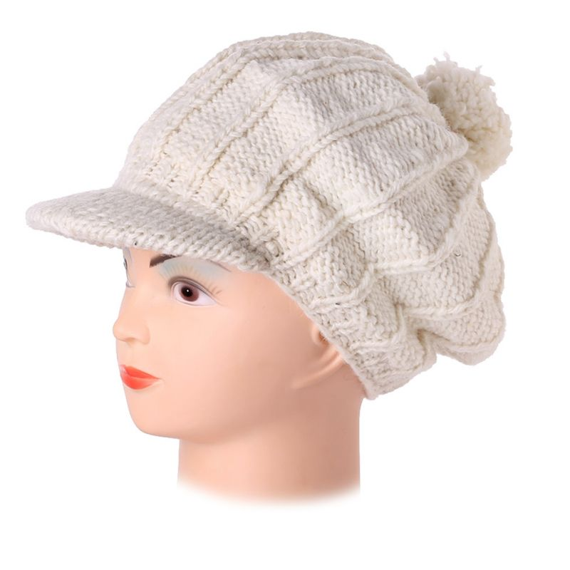 Woollen beret with a bill Gelar White